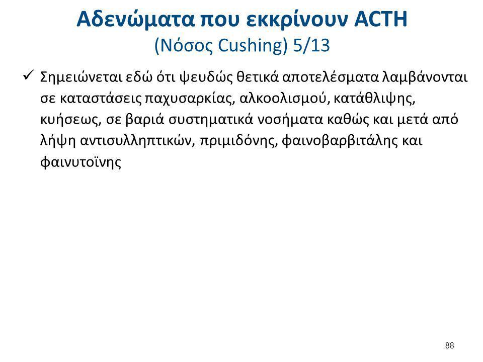 Αδενώματα που εκκρίνουν ACTH (Nόσος Cushing) 5/13 Σημειώνεται εδώ ότι ψευδώς θετικά αποτελέσματα λαμβάνονται σε καταστάσεις παχυσαρκίας, αλκοολισμού,