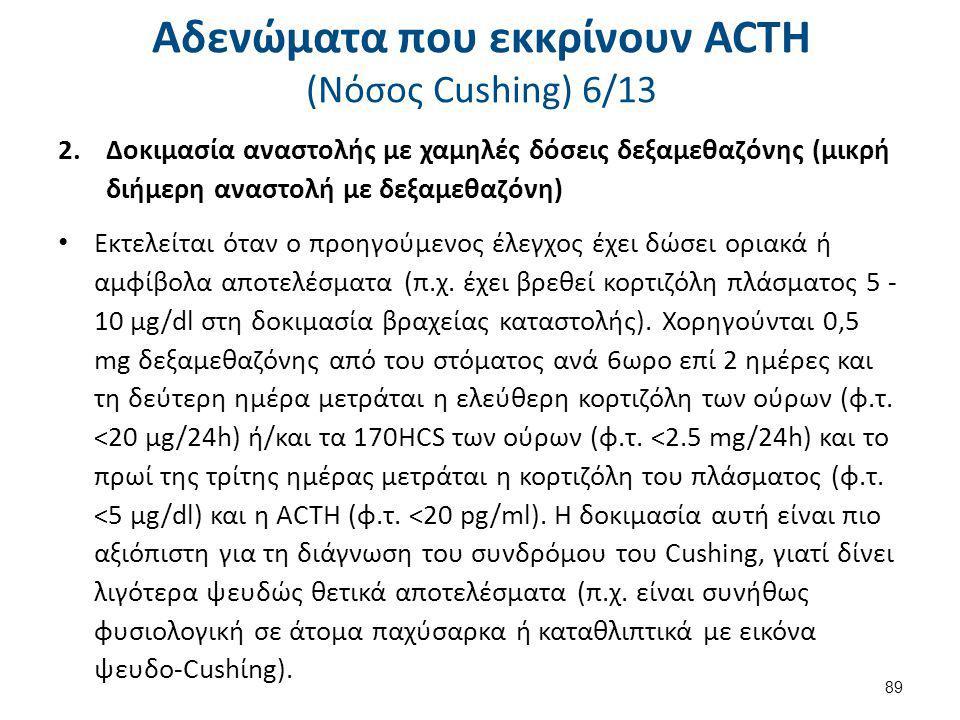 Αδενώματα που εκκρίνουν ACTH (Nόσος Cushing) 6/13 2.Δοκιμασία αναστολής με χαμηλές δόσεις δεξαμεθαζόνης (μικρή διήμερη αναστολή με δεξαμεθαζόνη) Εκτελ