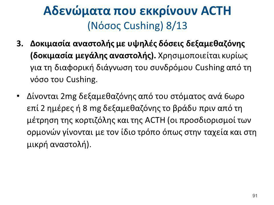 Αδενώματα που εκκρίνουν ACTH (Nόσος Cushing) 8/13 3.Δοκιμασία αναστολής με υψηλές δόσεις δεξαμεθαζόνης (δοκιμασία μεγάλης αναστολής). Χρησιμοποιείται