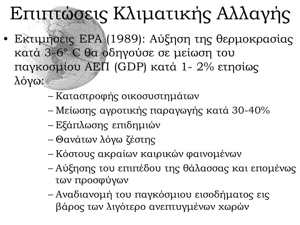 Επιπτώσεις Κλιματικής Αλλαγής Εκτιμήσεις EPA (1989): Αύξηση της θερμοκρασίας κατά 3-6° C θα οδηγούσε σε μείωση του παγκοσμίου ΑΕΠ (GDP) κατά 1- 2% ετη