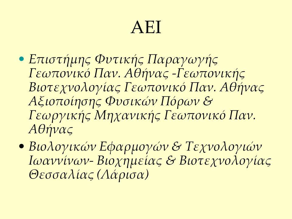 AEI Επιστήμης Φυτικής Παραγωγής Γεωπονικό Παν.Αθήνας -Γεωπονικής Βιοτεχνολογίας Γεωπονικό Παν.