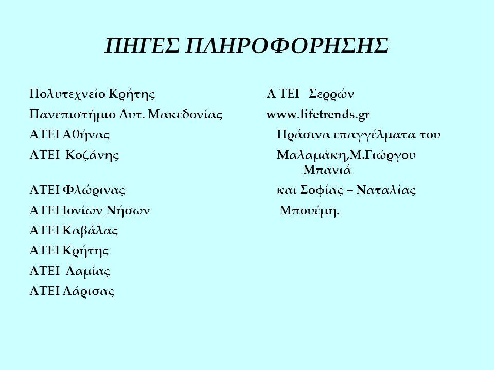 ΠΗΓΕΣ ΠΛΗΡΟΦΟΡΗΣΗΣ Πολυτεχνείο Κρήτης Α ΤΕΙ Σερρών Πανεπιστήμιο Δυτ.