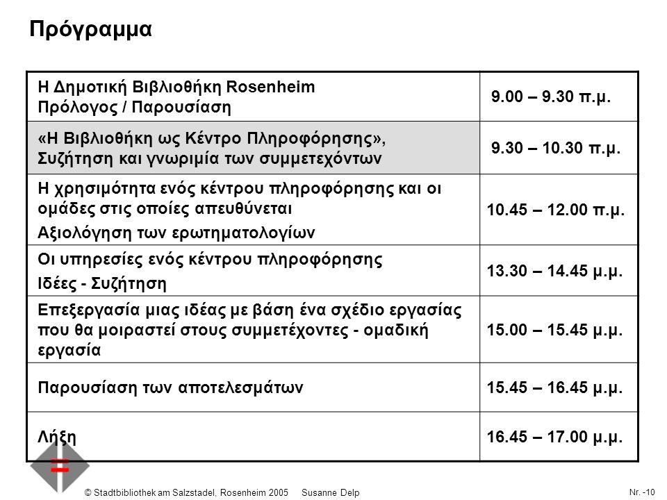 Nr. -10 © Stadtbibliothek am Salzstadel, Rosenheim 2005Susanne Delp Πρόγραμμα Η Δημοτική Βιβλιοθήκη Rosenheim Πρόλογος / Παρουσίαση 9.00 – 9.30 π.μ. «