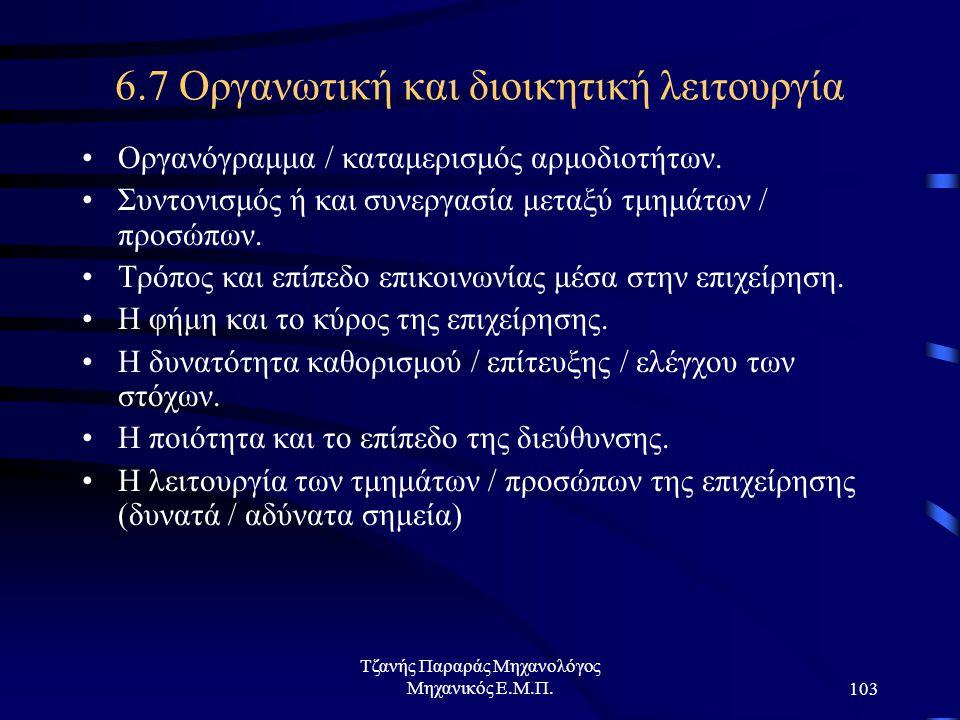 Τζανής Παραράς Μηχανολόγος Μηχανικός Ε.Μ.Π.103 6.7 Οργανωτική και διοικητική λειτουργία Οργανόγραμμα / καταμερισμός αρμοδιοτήτων.