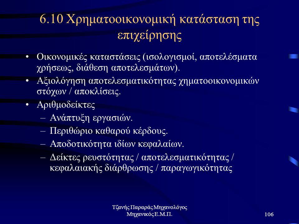 Τζανής Παραράς Μηχανολόγος Μηχανικός Ε.Μ.Π.106 6.10 Χρηματοοικονομική κατάσταση της επιχείρησης Οικονομικές καταστάσεις (ισολογισμοί, αποτελέσματα χρήσεως, διάθεση αποτελεσμάτων).