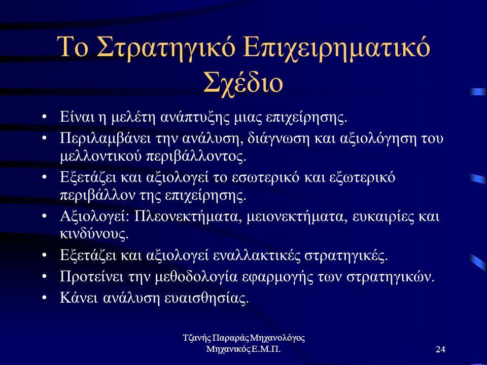 Τζανής Παραράς Μηχανολόγος Μηχανικός Ε.Μ.Π.24 Το Στρατηγικό Επιχειρηματικό Σχέδιο Είναι η μελέτη ανάπτυξης μιας επιχείρησης.
