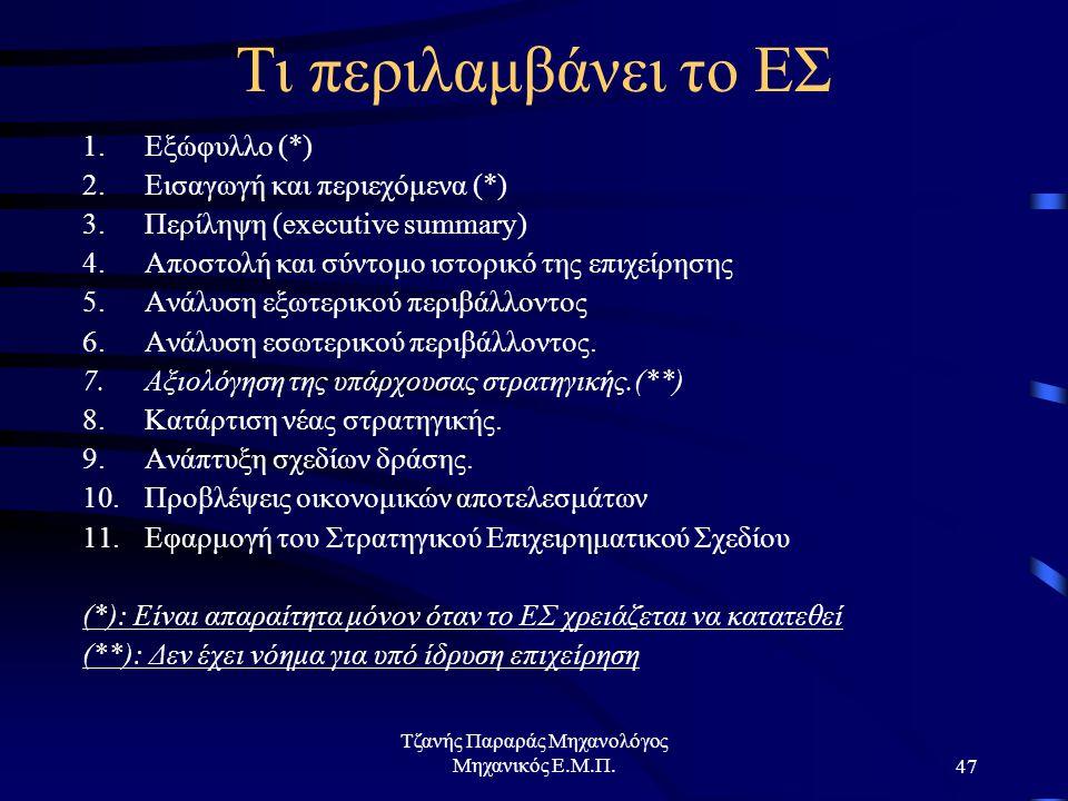 Τζανής Παραράς Μηχανολόγος Μηχανικός Ε.Μ.Π.47 Τι περιλαμβάνει το ΕΣ 1.Εξώφυλλο (*) 2.Εισαγωγή και περιεχόμενα (*) 3.Περίληψη (executive summary) 4.Αποστολή και σύντομο ιστορικό της επιχείρησης 5.Ανάλυση εξωτερικού περιβάλλοντος 6.Ανάλυση εσωτερικού περιβάλλοντος.