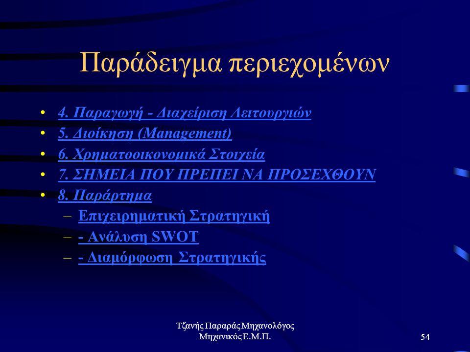 Τζανής Παραράς Μηχανολόγος Μηχανικός Ε.Μ.Π.54 Παράδειγμα περιεχομένων 4.