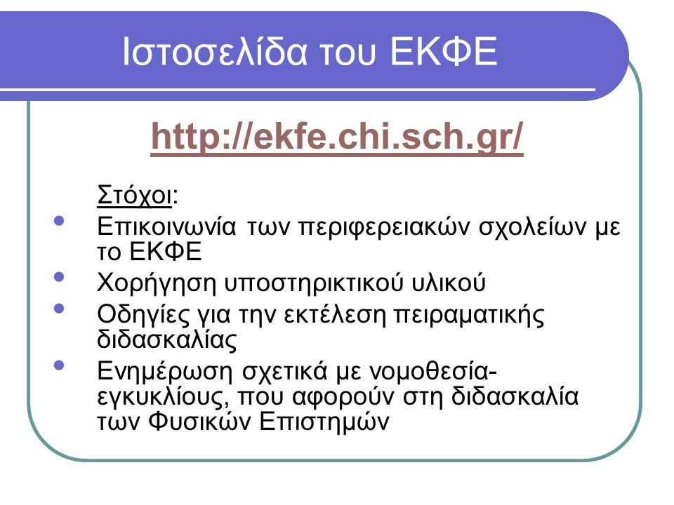 Ιστοσελίδα του ΕΚΦΕ http://ekfe.chi.sch.gr/ Στόχοι: Επικοινωνία των περιφερειακών σχολείων με το ΕΚΦΕ Χορήγηση υποστηρικτικού υλικού Οδηγίες για την ε