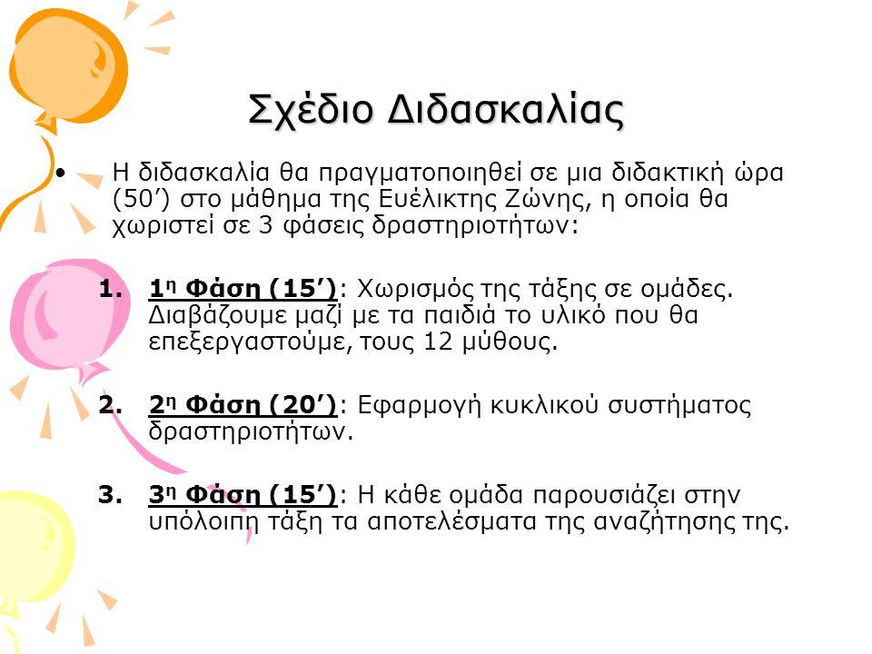 1 η Φάση (15'): Έχουμε γράψει σε κείμενο Word τους 12 μύθους και τους μοιράζουμε στα παιδιά.