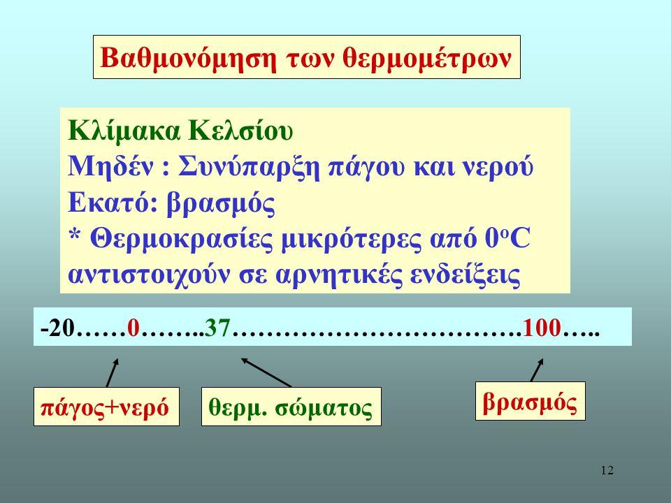 12 Βαθμονόμηση των θερμομέτρων Κλίμακα Κελσίου Μηδέν : Συνύπαρξη πάγου και νερού Εκατό: βρασμός * Θερμοκρασίες μικρότερες από 0 ο C αντιστοιχούν σε αρ