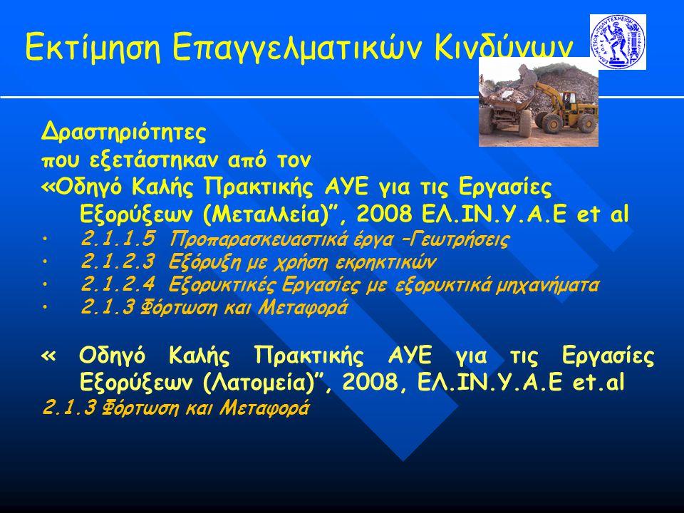 Εκτίμηση Επαγγελματικών Κινδύνων Δραστηριότητες που εξετάστηκαν από τον «Οδηγό Καλής Πρακτικής ΑΥΕ για τις Εργασίες Εξορύξεων (Μεταλλεία) , 2008 ΕΛ.ΙΝ.Υ.Α.Ε et al 2.1.1.5 Προπαρασκευαστικά έργα –Γεωτρήσεις 2.1.2.3 Εξόρυξη με χρήση εκρηκτικών 2.1.2.4 Εξορυκτικές Εργασίες με εξορυκτικά μηχανήματα 2.1.3 Φόρτωση και Μεταφορά « Οδηγό Καλής Πρακτικής ΑΥΕ για τις Εργασίες Εξορύξεων (Λατομεία) , 2008, ΕΛ.ΙΝ.Υ.Α.Ε et.al 2.1.3 Φόρτωση και Μεταφορά