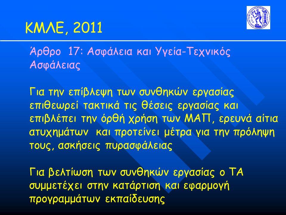 ΚΜΛΕ, 2011 Άρθρο 17: Ασφάλεια και Υγεία-Τεχνικός Ασφάλειας Για την επίβλεψη των συνθηκών εργασίας επιθεωρεί τακτικά τις θέσεις εργασίας και επιβλέπει