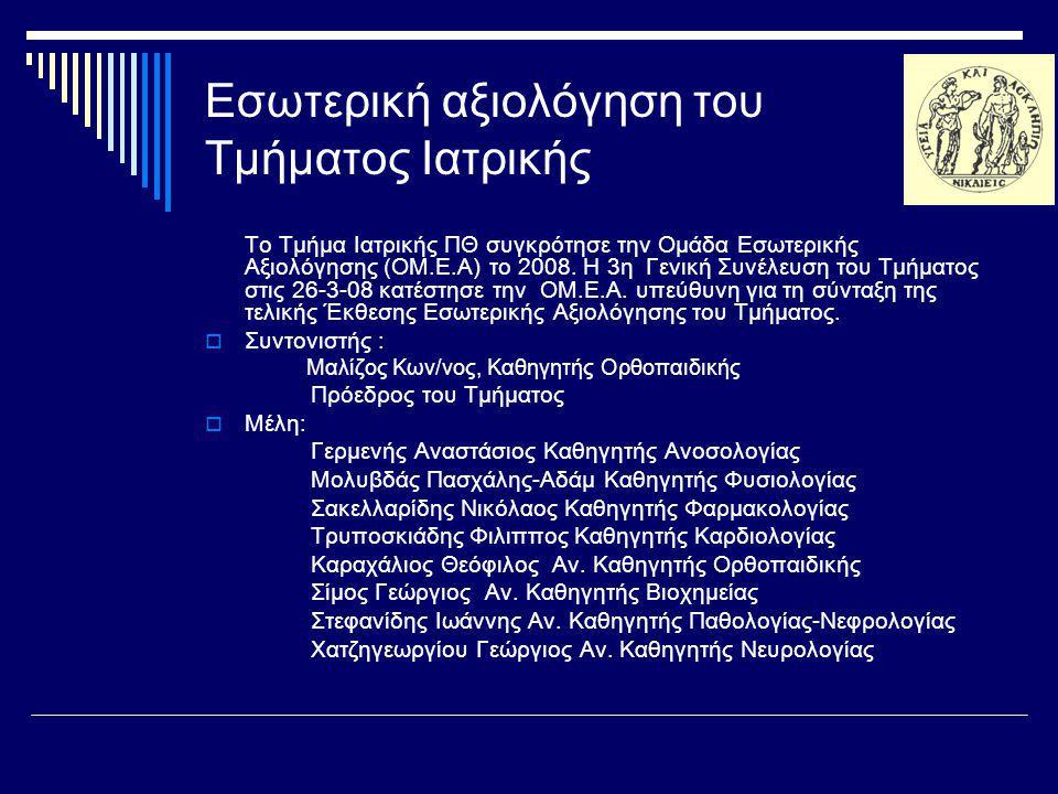 Εσωτερική αξιολόγηση του Τμήματος Ιατρικής
