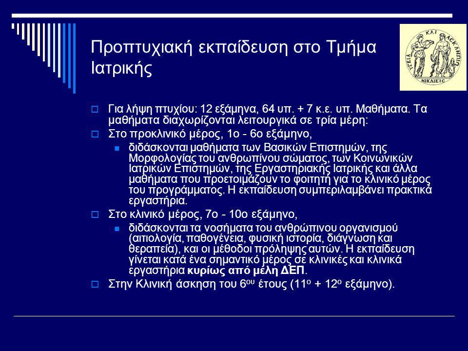 Συμπεράσματα, προτάσεις, μελλοντικές δράσεις  Ιατρική Ειδικότητα.
