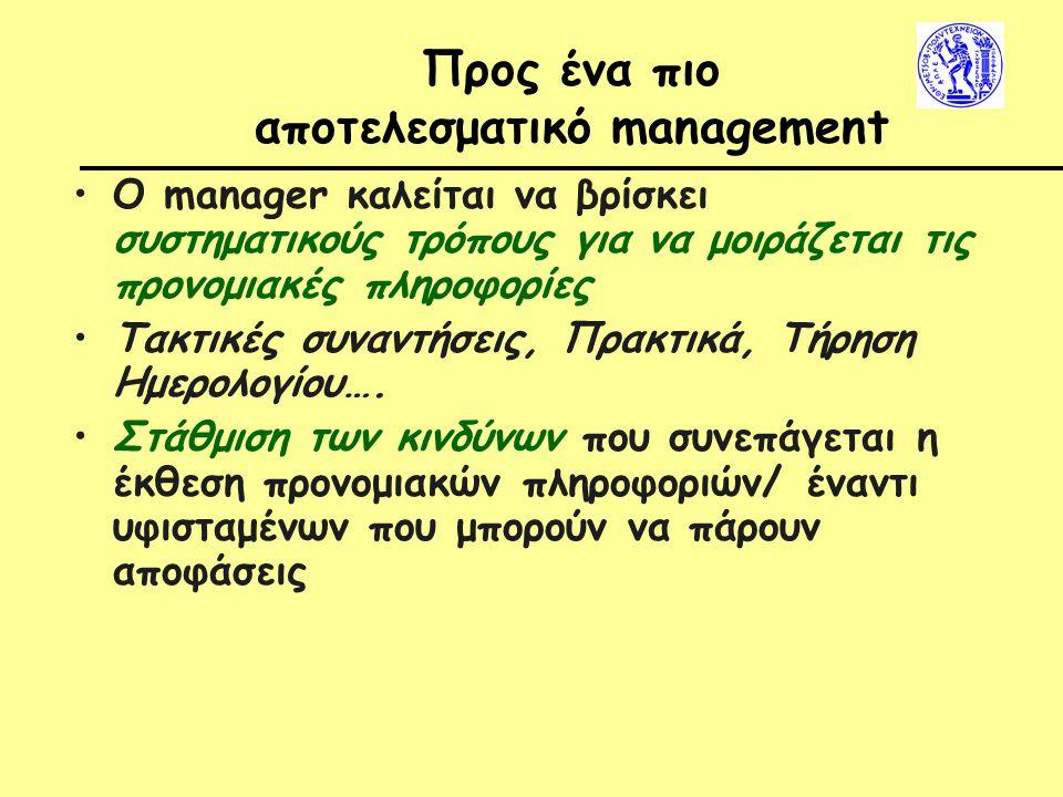 Προς ένα πιο αποτελεσματικό management Ο manager καλείται να βρίσκει συστηματικούς τρόπους για να μοιράζεται τις προνομιακές πληροφορίες Τακτικές συναντήσεις, Πρακτικά, Τήρηση Ημερολογίου….
