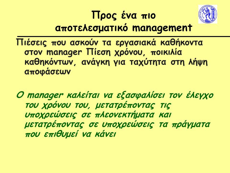 Προς ένα πιο αποτελεσματικό management Πιέσεις που ασκούν τα εργασιακά καθήκοντα στον manager Πίεση χρόνου, ποικιλία καθηκόντων, ανάγκη για ταχύτητα στη λήψη αποφάσεων Ο manager καλείται να εξασφαλίσει τον έλεγχο του χρόνου του, μετατρέποντας τις υποχρεώσεις σε πλεονεκτήματα και μετατρέποντας σε υποχρεώσεις τα πράγματα που επιθυμεί να κάνει