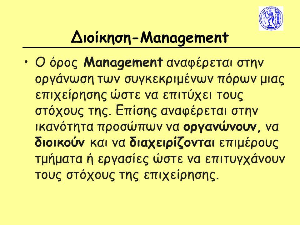 Διοίκηση-Management Ο όρος Management αναφέρεται στην οργάνωση των συγκεκριμένων πόρων μιας επιχείρησης ώστε να επιτύχει τους στόχους της.