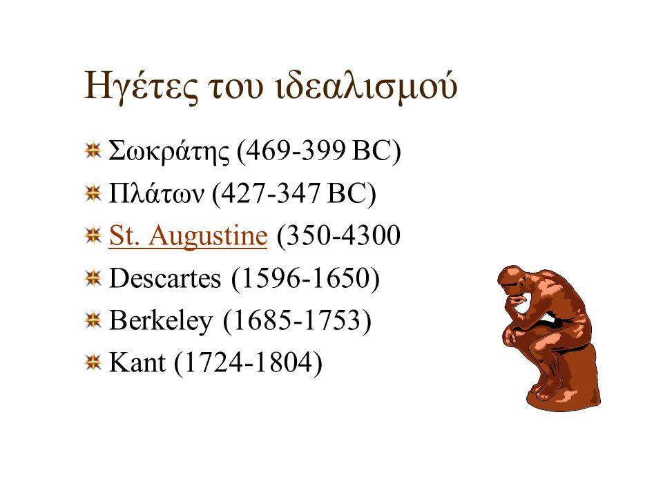 Ηγέτες του ιδεαλισμού Σωκράτης (469-399 BC) Πλάτων (427-347 BC) St. AugustineSt. Augustine (350-4300 Descartes (1596-1650) Berkeley (1685-1753) Kant (