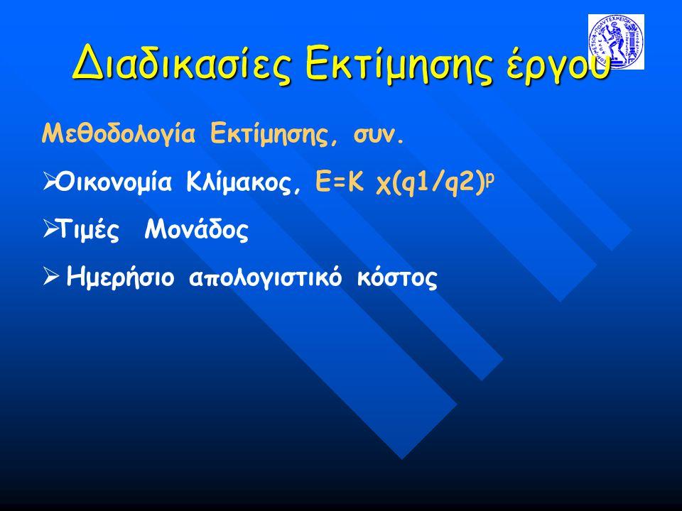 Διαδικασίες Εκτίμησης έργου Μεθοδολογία Εκτίμησης, συν.  Οικονομία Κλίμακος, Ε=Κ χ(q1/q2) p  Τιμές Μονάδος  Ημερήσιο απολογιστικό κόστος