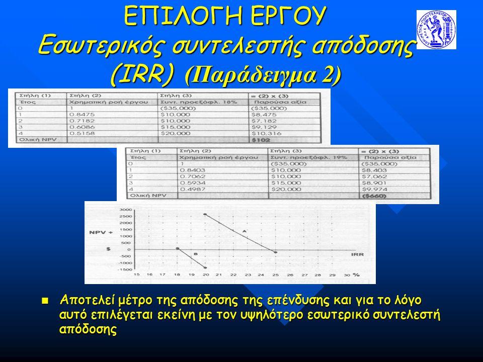 ΕΠΙΛΟΓΗ ΕΡΓΟΥ Εσωτερικός συντελεστής απόδοσης (IRR) (Παράδειγμα 2) Αποτελεί μέτρο της απόδοσης της επένδυσης και για το λόγο αυτό επιλέγεται εκείνη με