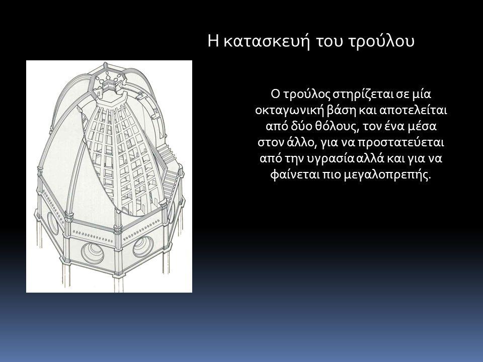 Ο τρούλος στηρίζεται σε μία οκταγωνική βάση και αποτελείται από δύο θόλους, τον ένα μέσα στον άλλο, για να προστατεύεται από την υγρασία αλλά και για