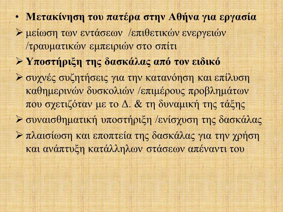 Μετακίνηση του πατέρα στην Αθήνα για εργασία  μείωση των εντάσεων /επιθετικών ενεργειών /τραυματικών εμπειριών στο σπίτι  Υποστήριξη της δασκάλας απ