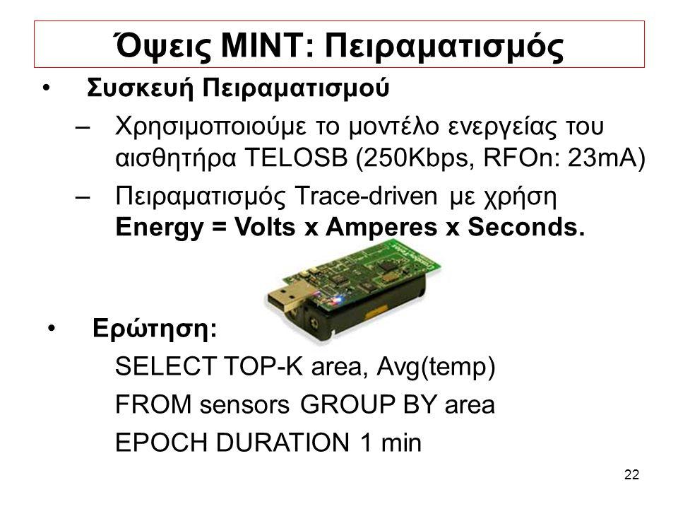 22 Όψεις ΜΙΝΤ: Πειραματισμός Ερώτηση: SELECT TOP-K area, Avg(temp) FROM sensors GROUP BY area EPOCH DURATION 1 min Συσκευή Πειραματισμού –Χρησιμοποιούμε το μοντέλο ενεργείας του αισθητήρα TELOSB (250Kbps, RFOn: 23mA) –Πειραματισμός Trace-driven με χρήση Energy = Volts x Amperes x Seconds.