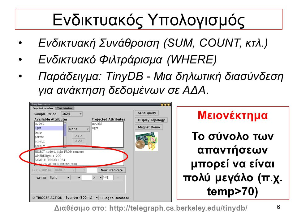 6 Ενδικτυακός Υπολογισμός Διαθέσιμο στο: http://telegraph.cs.berkeley.edu/tinydb/ Μειονέκτημα Το σύνολο των απαντήσεων μπορεί να είναι πολύ μεγάλο (π.χ.