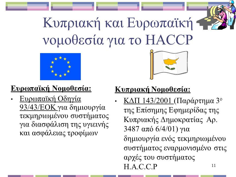 Κυπριακή και Ευρωπαϊκή νομοθεσία για το HACCP Ευρωπαϊκή Νομοθεσία: Ευρωπαϊκή Οδηγία 93/43/ΕΟΚ για δημιουργία τεκμηριωμένου συστήματος για διασφάλιση της υγιεινής και ασφάλειας τροφίμων Κυπριακή Νομοθεσία: ΚΔΠ 143/2001 (Παράρτημα 3 ο της Επίσημης Εφημερίδας της Κυπριακής Δημοκρατίας Αρ.