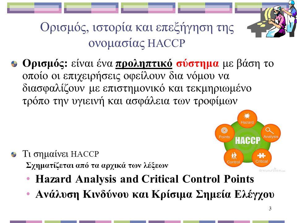 3 Ορισμός, ιστορία και επεξήγηση της ονομασίας HACCP Ορισμός: είναι ένα προληπτικό σύστημα με βάση το οποίο οι επιχειρήσεις οφείλουν δια νόμου να διασφαλίζουν με επιστημονικό και τεκμηριωμένο τρόπο την υγιεινή και ασφάλεια των τροφίμων Τι σημαίνει HACCP Σχηματίζεται από τα αρχικά των λέξεων Hazard Analysis and Critical Control Points Ανάλυση Κινδύνου και Κρίσιμα Σημεία Ελέγχου