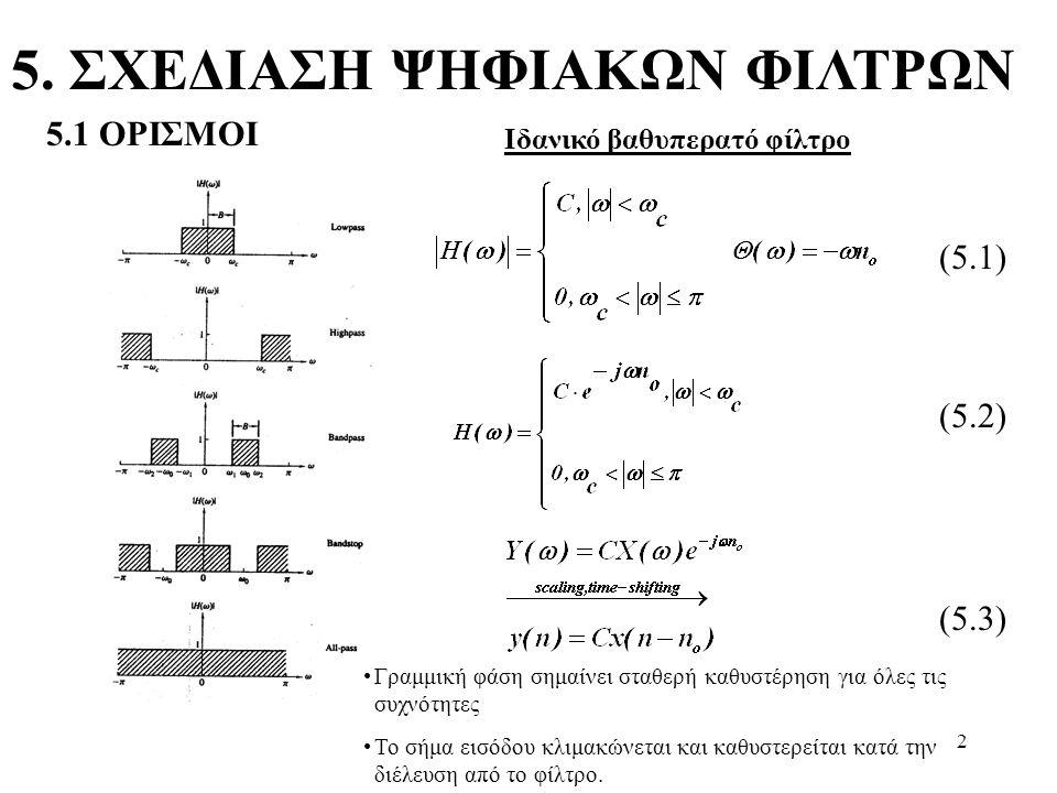 2 5. ΣΧΕΔΙΑΣΗ ΨΗΦΙΑΚΩΝ ΦΙΛΤΡΩΝ 5.1 ΟΡΙΣΜΟΙ Ιδανικό βαθυπερατό φίλτρο Γραμμική φάση σημαίνει σταθερή καθυστέρηση για όλες τις συχνότητες Το σήμα εισόδο
