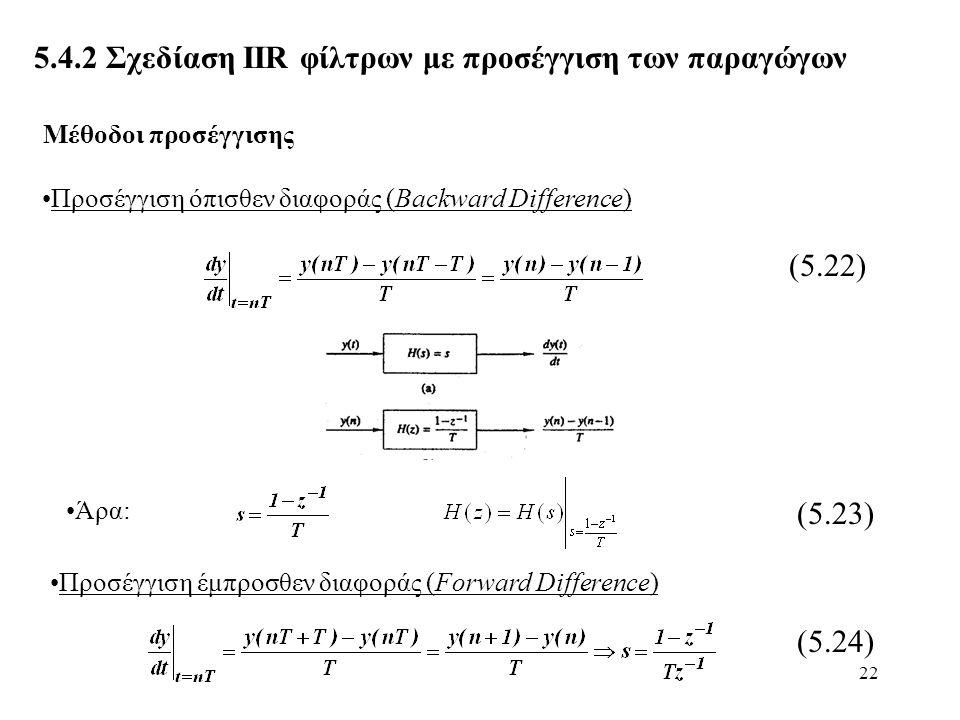 22 5.4.2 Σχεδίαση ΙIR φίλτρων με προσέγγιση των παραγώγων Προσέγγιση όπισθεν διαφοράς (Backward Difference) (5.22) Άρα: (5.23) Μέθοδοι προσέγγισης Προ
