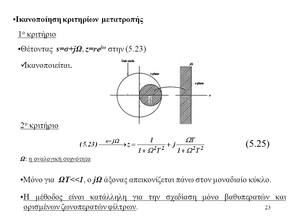 23 Ικανοποίηση κριτηρίων μετατροπής 1 ο κριτήριο 2 ο κριτήριο (5.25) Ω: η αναλογική συχνότητα Μόνο για ΩΤ<<1, ο jΩ άξονας απεικονίζεται πάνω στον μονα