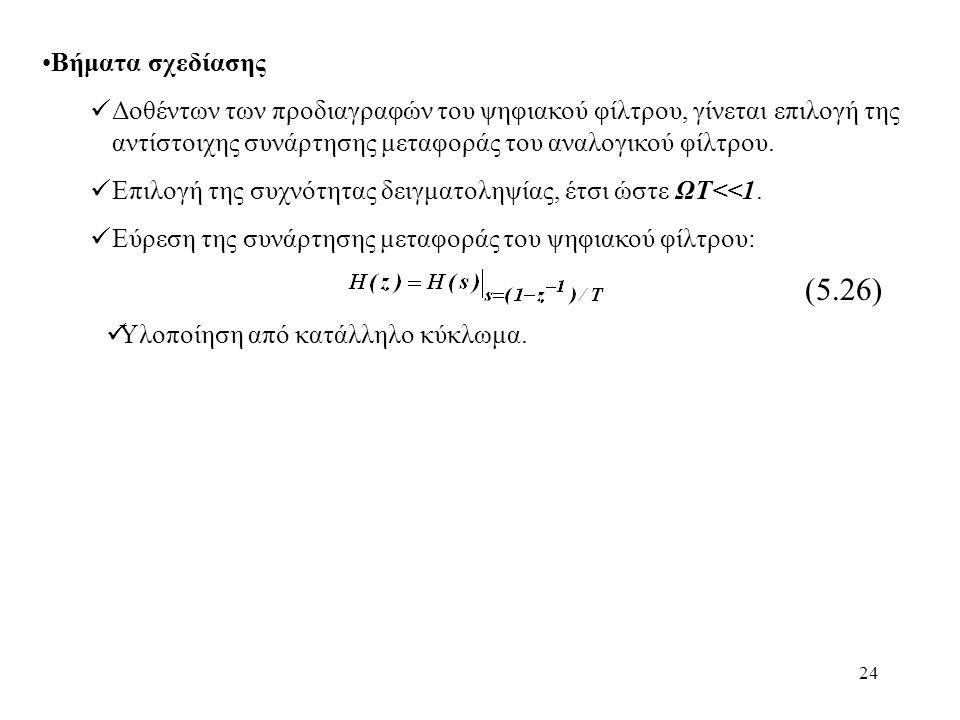 24 Βήματα σχεδίασης Δοθέντων των προδιαγραφών του ψηφιακού φίλτρου, γίνεται επιλογή της αντίστοιχης συνάρτησης μεταφοράς του αναλογικού φίλτρου. Επιλο