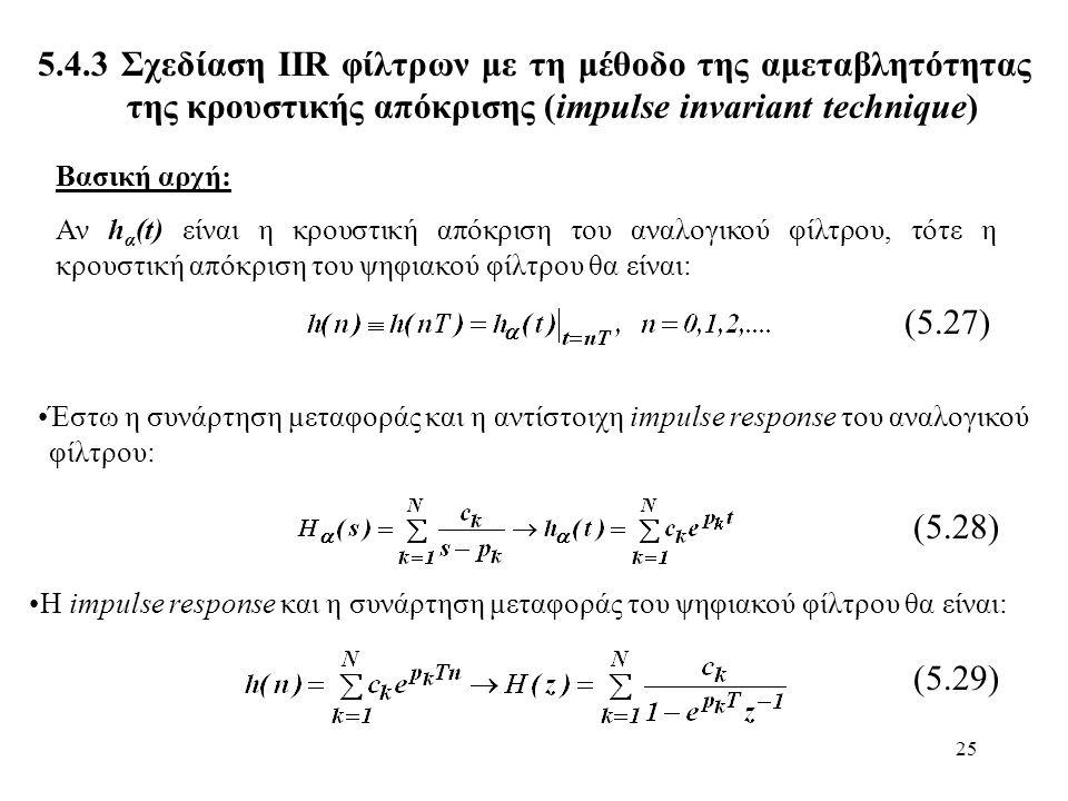 25 5.4.3 Σχεδίαση ΙIR φίλτρων με τη μέθοδο της αμεταβλητότητας της κρουστικής απόκρισης (impulse invariant technique) Βασική αρχή: Αν h α (t) είναι η