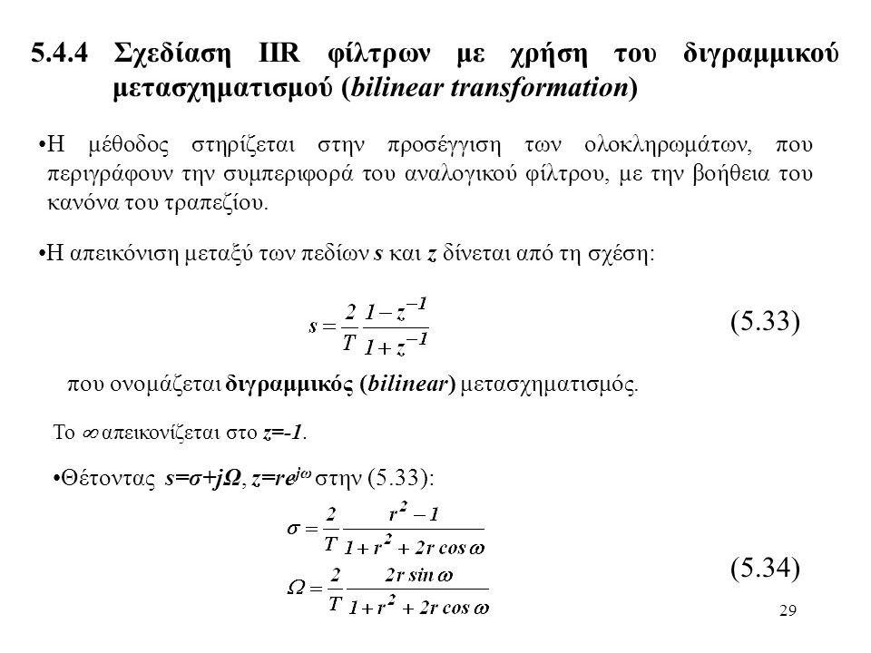 29 5.4.4 Σχεδίαση ΙIR φίλτρων με χρήση του διγραμμικού μετασχηματισμού (bilinear transformation) Η μέθοδος στηρίζεται στην προσέγγιση των ολοκληρωμάτω