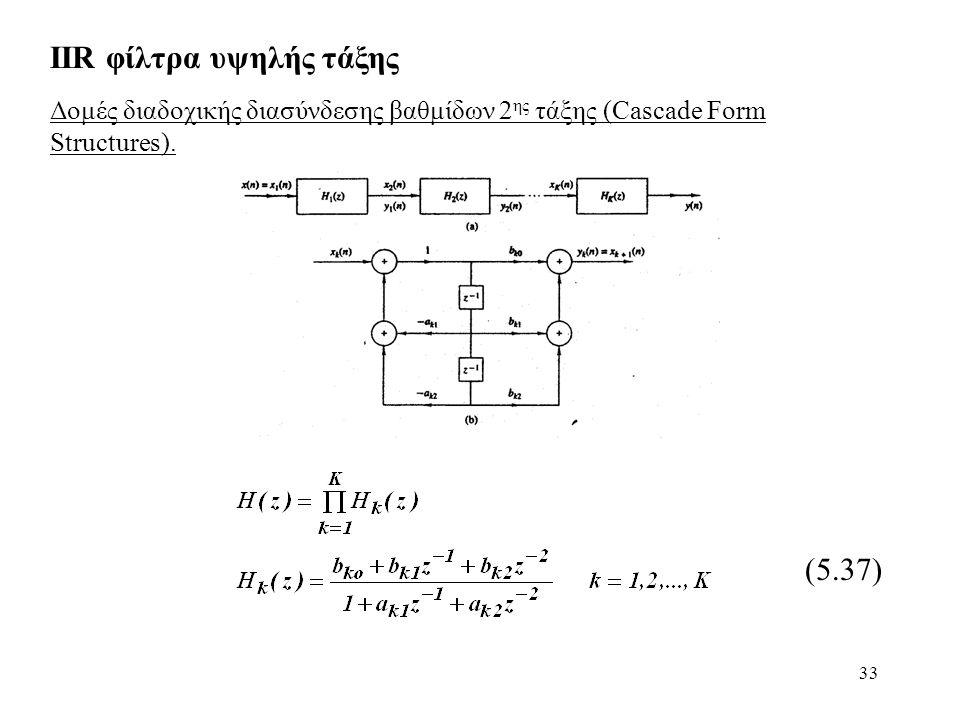 33 IIR φίλτρα υψηλής τάξης Δομές διαδοχικής διασύνδεσης βαθμίδων 2 ης τάξης (Cascade Form Structures). (5.37)