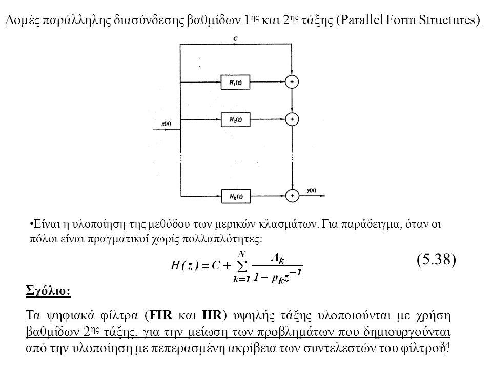 34 Δομές παράλληλης διασύνδεσης βαθμίδων 1 ης και 2 ης τάξης (Parallel Form Structures) (5.38) Είναι η υλοποίηση της μεθόδου των μερικών κλασμάτων. Γι