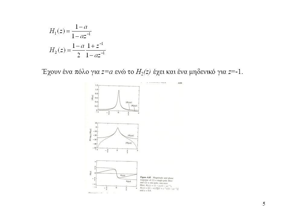 26 Άρα, υπάρχει ένας μετασχηματισμός των πόλων: (5.30) Γενικότερα, αν s είναι η αναλογική συχνότητα, τότε η μεταβλητή z θα είναι: (5.31) Θέτοντας s=σ+jΩ, z=re jω (5.32) Ικανοποίηση κριτηρίων μετατροπής 1 ο κριτήριο 2 ο κριτήριο Ικανοποιείται.