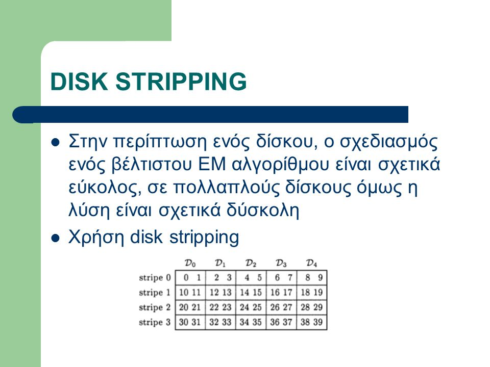 DISK STRIPPING Στην περίπτωση ενός δίσκου, ο σχεδιασμός ενός βέλτιστου ΕΜ αλγορίθμου είναι σχετικά εύκολος, σε πολλαπλούς δίσκους όμως η λύση είναι σχετικά δύσκολη Χρήση disk stripping