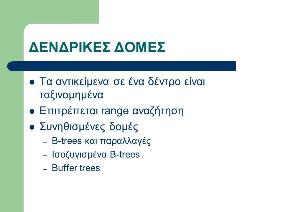 ΔΕΝΔΡΙΚΕΣ ΔΟΜΕΣ Τα αντικείμενα σε ένα δέντρο είναι ταξινομημένα Επιτρέπεται range αναζήτηση Συνηθισμένες δομές – B-trees και παραλλαγές – Ισοζυγισμένα Β-trees – Buffer trees