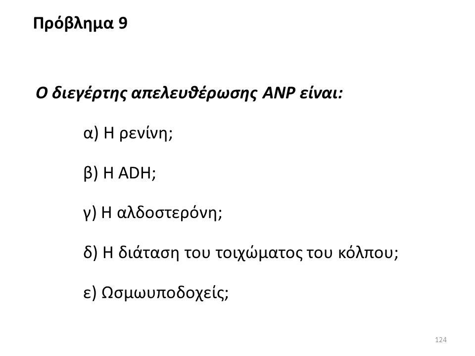 123 Το κέντρο της δίψας διεγείρεται από όλα τα παρακάτω, εκτός από (ένα λάθος): α) Τους ωσμωυποδοχείς του υποθαλάμου; β) Τους περιφερικούς χημειοϋποδο