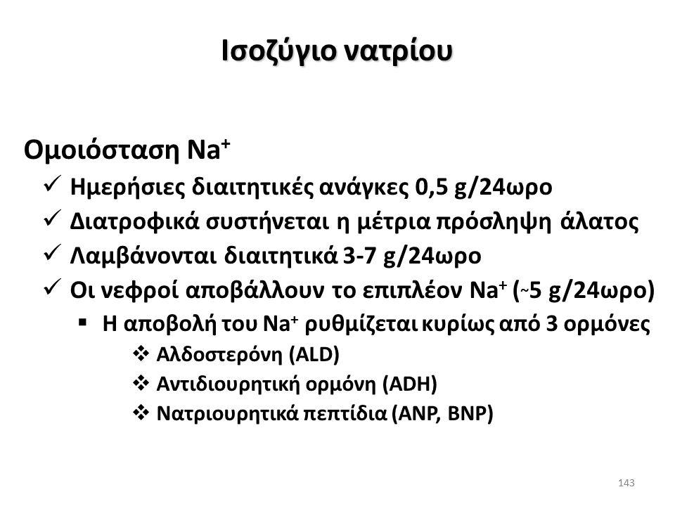 142 Είναι σημαντικό να αναγνωριστεί ότι το ισοζύγιο του Na + και του Η 2 Ο ρυθμίζονται ξεχωριστά: Διαταραχές του ισοζυγίου του Na + οδηγούν σε μεταβολ