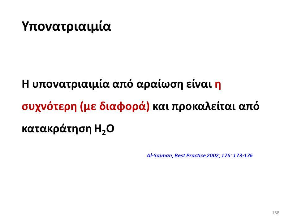 157 Υπογκαιμική Νεφροπάθεια με απώλεια Na + Σοβαρή διάρροια και έμετοι Παροχέτευση γαστρικών υγρών Ν. Addison Επαναλαμβανόμενη παροχέτευση υγρών (ασκί