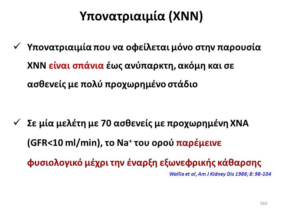 162 Σχέση Κ + και υπονατριαιμίας Η απώλεια Κ + μειώνει τα ενδοκυττάρια αποθέματά του, οδηγώντας σε μεταφορά Na + από τον εξωκυττάριο χώρο, δημιουργώντ