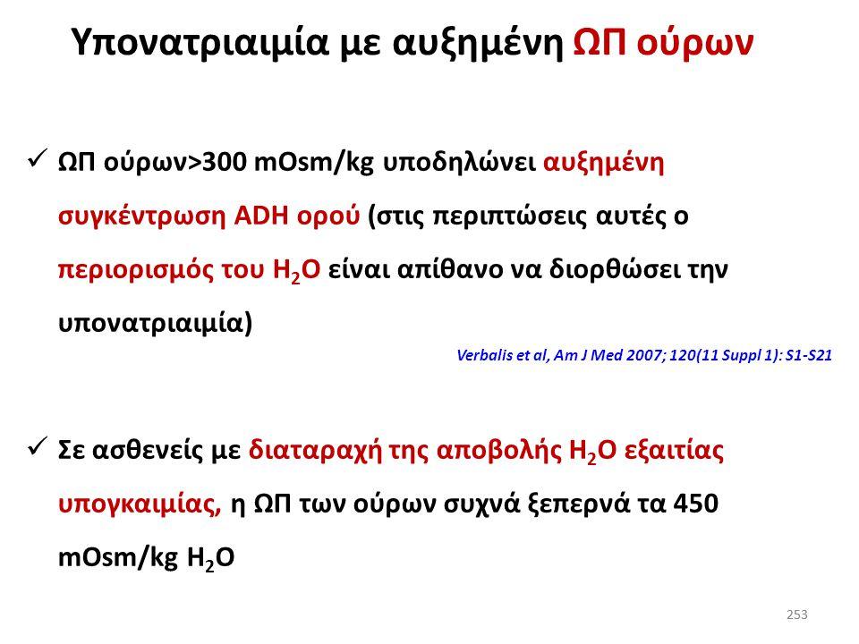 252 Διαφορική διάγνωση υπονατριαιμίας (ΩΠ ούρων και Na + ούρων) Όταν η ΩΠ ούρων>100 mOsm/kg το Na + των ούρων σε τυχαίο δείγμα βοηθά για να γίνει κατα