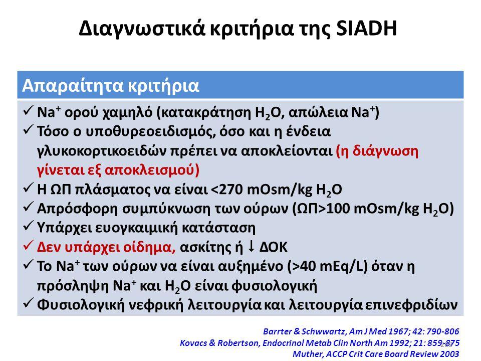 262 Υπονατριαιμία (ηλικιωμένων) Στους ηλικιωμένους ασθενείς που έχουν χαμηλή ΩΠ πλάσματος είναι δύσκολος ο ακριβής προσδιορισμός της κατάστασης του όγ