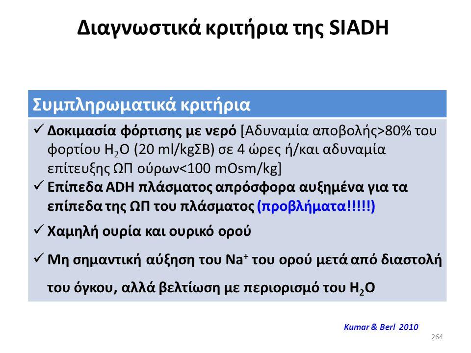 263 Διαγνωστικά κριτήρια της SIADH Απαραίτητα κριτήρια Na + ορού χαμηλό (κατακράτηση Η 2 Ο, απώλεια Na + ) Τόσο ο υποθυρεοειδισμός, όσο και η ένδεια γ