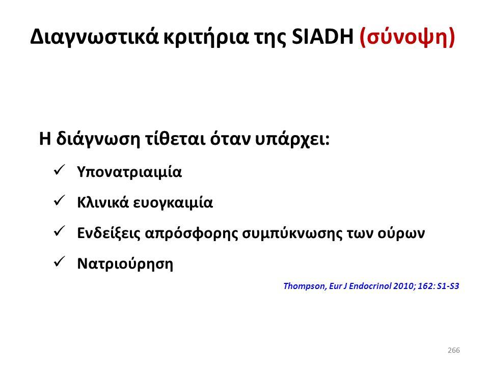 265 Διάγνωση SIADH Δεν πρέπει να υπάρχει μείωση του δραστικού όγκου κυκλοφορίας Για να διευκρινιστεί αυτό χορηγήστε 2 L NaCI 0,9% Αν μετά την έγχυση τ